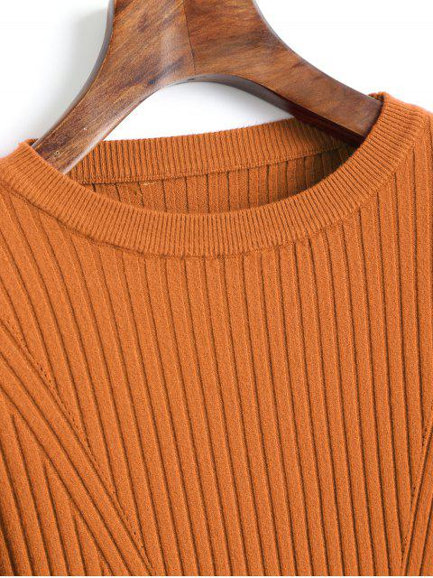 sale Crew Neck Ribbed Knitted Top - LIGHT BROWN ONE SIZE Mobile