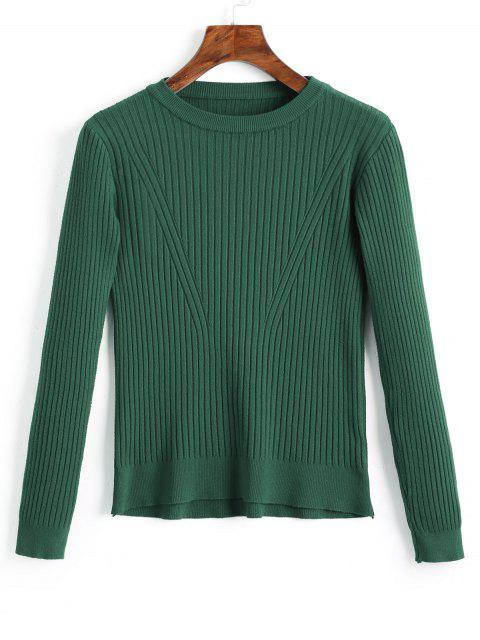 buy Crew Neck Ribbed Knitted Top - GREEN ONE SIZE Mobile