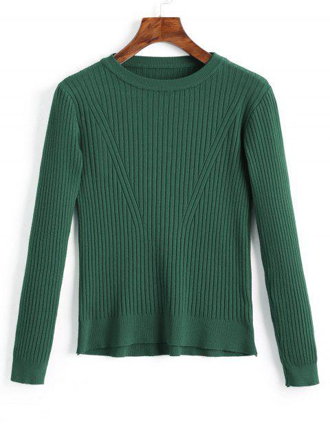 Rundhals Strick Top Mit Rundhalsausschnitt - Grün Eine Größe Mobile
