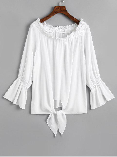 women's Off Shoulder Flare Sleeve Tied Hem Blouse - WHITE L Mobile