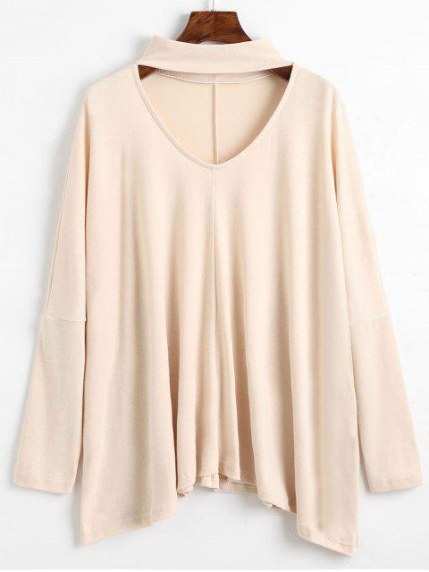 shop Long Sleeve Keyhole Neck Tee - APRICOT XL Mobile