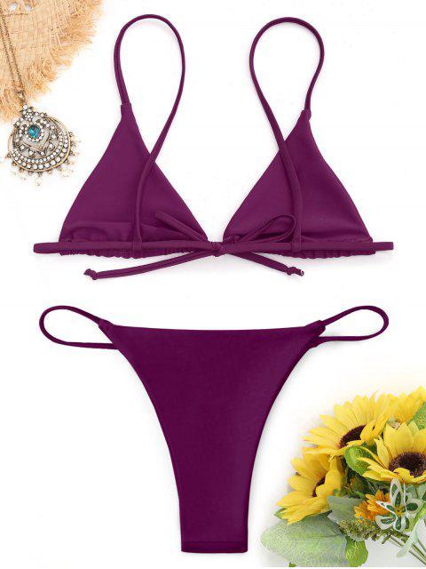 affordable Bralette Thong String Bikini Set - PURPLISH RED L Mobile