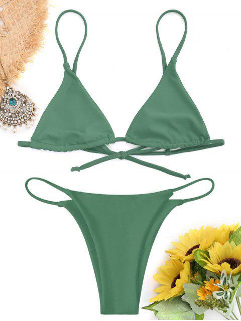 chic Bralette Thong String Bikini Set - GREEN S Mobile