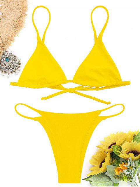 latest Bralette Thong String Bikini Set - YELLOW S Mobile