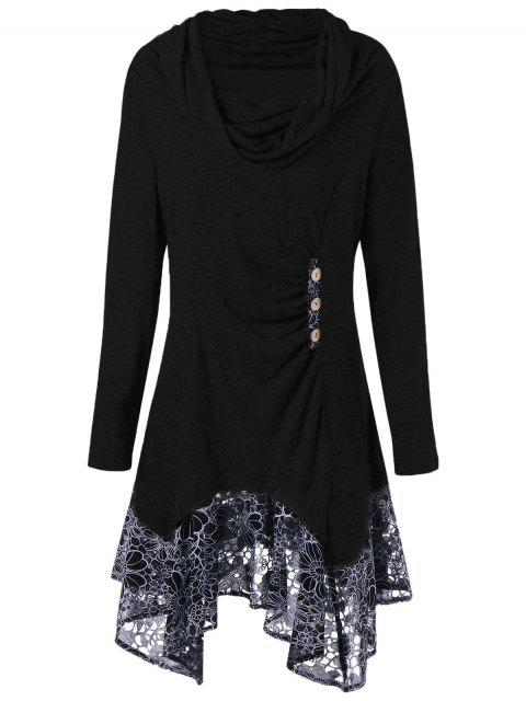 outfits Plus Size Cowl Neck Floral Longline Top - BLACK 2XL Mobile