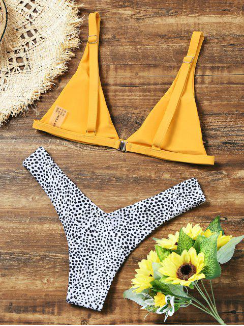 unique Leopard High Cut Bikini Set - YELLOW S Mobile
