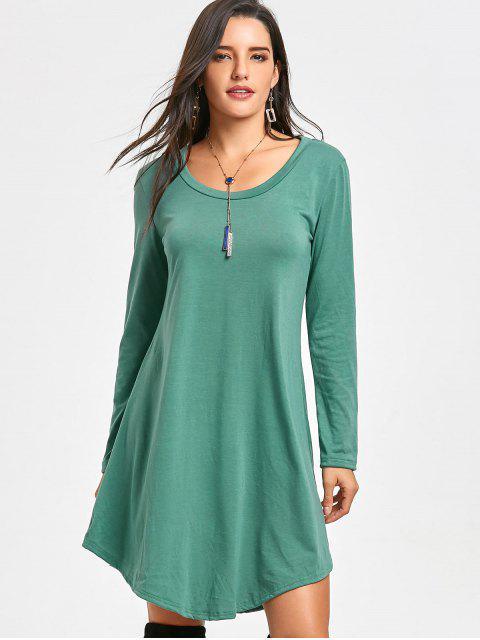 fashion Long Sleeve Tee Tunic Dress - GREEN S Mobile