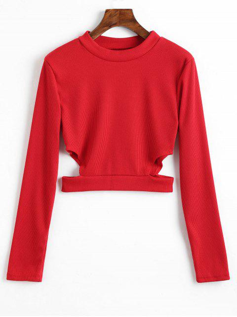 fancy Cut Out Ribbed Crop Tee - RED M Mobile