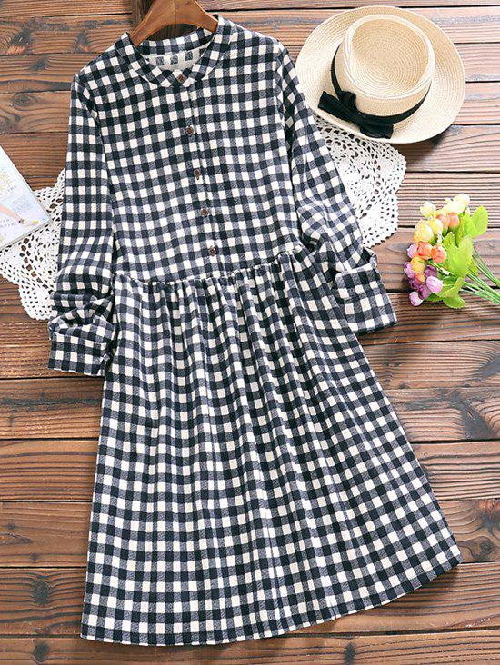 Image of Half Button A Line Checked Dress