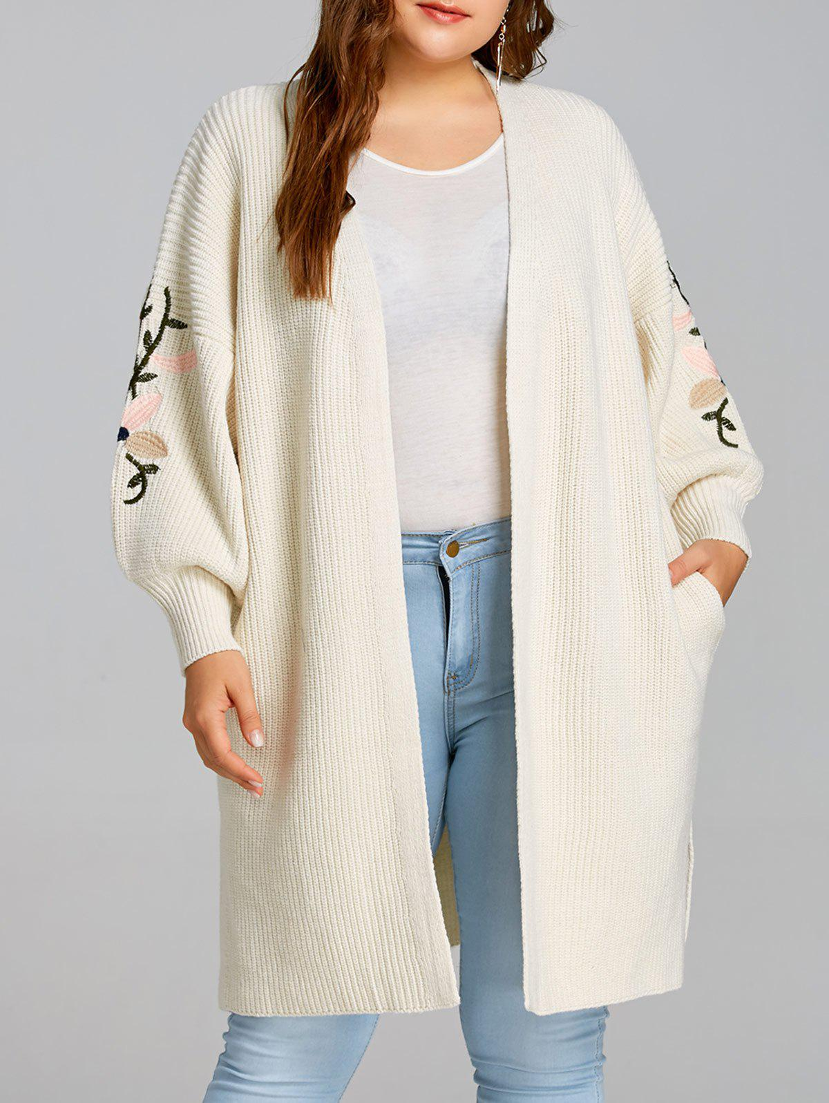 Drop Shoulder Flower Embroidered Plus Size Knitted Coat 241489303