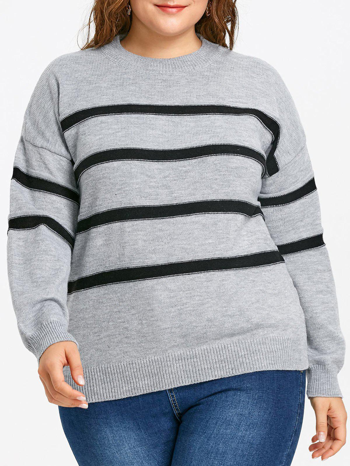 Drop Shoulder Striped Plus Size Jumper Sweater 241489201