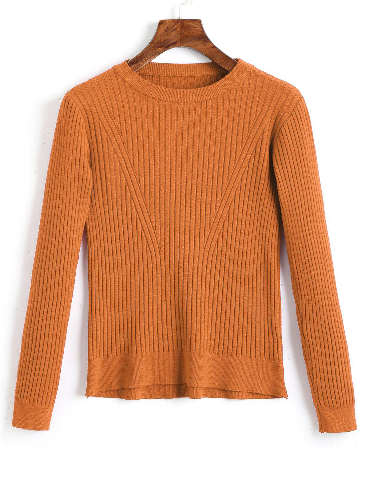 Crew Neck Ribbed Knitted Top 240617403
