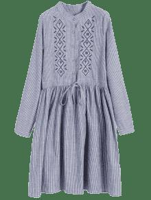 Vestido De L Rayas Parche Bordado A tIqRwATFx