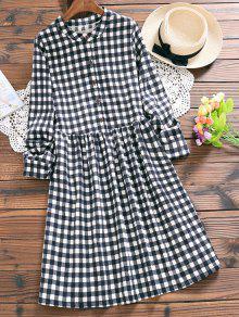Medio Botón Un Vestido A Cuadros - Comprobado L