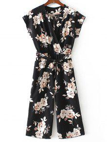 Crossed Front Belted Floral Jumpsuit - Preto Xl