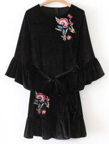 Velvet Ruffles Mini Vestido Bordado Floral - Preto L