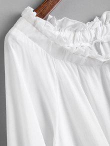 El Abullonada Hombro Dobladillo En Blusa De M Blanco Con Manga qfCCTa