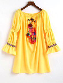 قبالة الكتف كم مضيئة اللباس مزين - الأصفر Xl