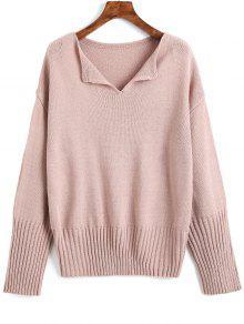 Drop Shoulder V-Ausschnitt Plain Sweater - Pink Lila