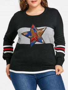 Plus Size Striped Pailletten Star Sweater - Schwarz