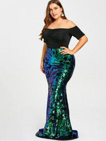 2d8b552b49aa56 40% OFF  2019 Plus Size Off The Shoulder Sequined Mermaid Dress In ...