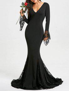 عميق الخامس الرقبة الدانتيل إدراج حورية البحر فستان حفلة موسيقية - أسود M