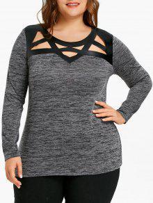 Plus Size-Ausschnitt Marled T-Shirt - Dunkel Meliert Grau 5xl