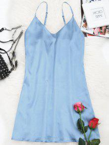 فستان الصيف مصغر كامي حزام السباغيتي - غائم M