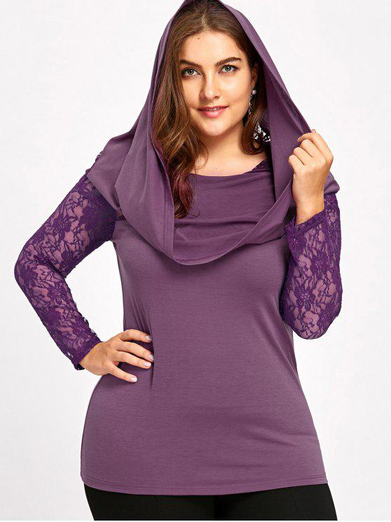affordable Plus Size Lace Insert Hoodie - PURPLE XL