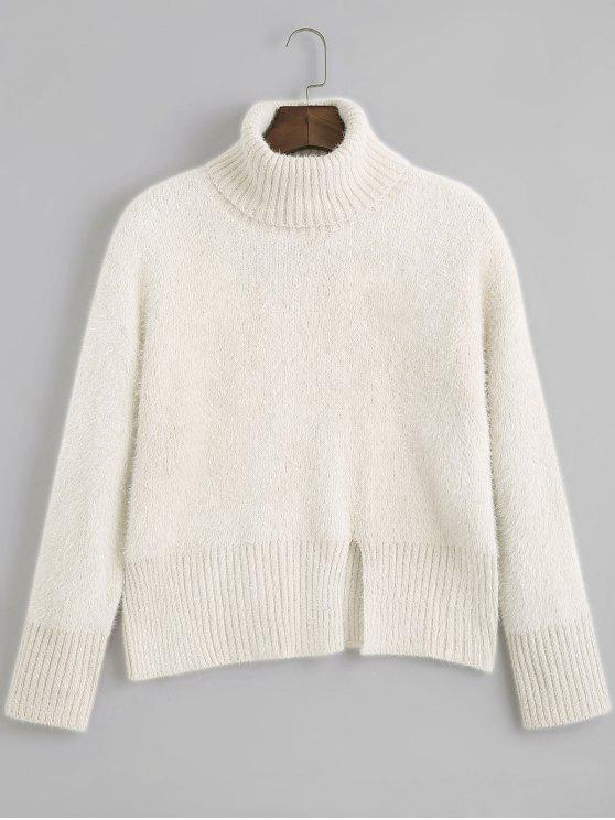 Slit Textured Turtleneck Sweater BEIGE: Sweaters ONE SIZE | ZAFUL