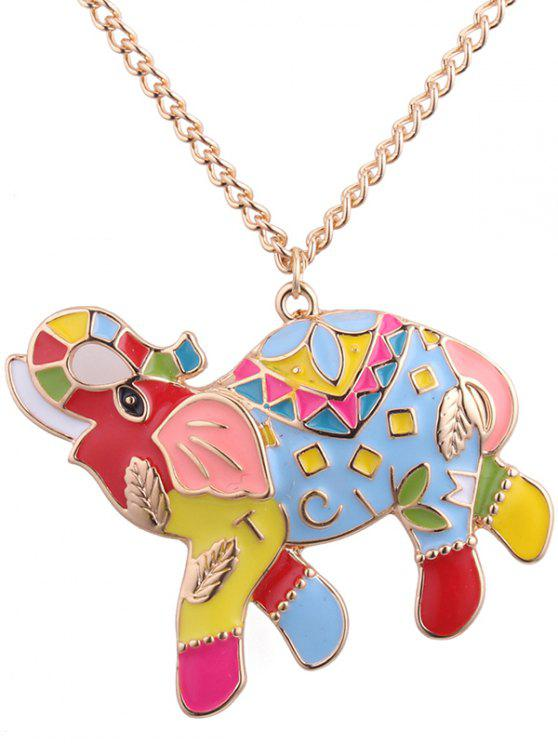 outfit Letter Leaf Carve Elephant Pendant Necklace - COLORMIX