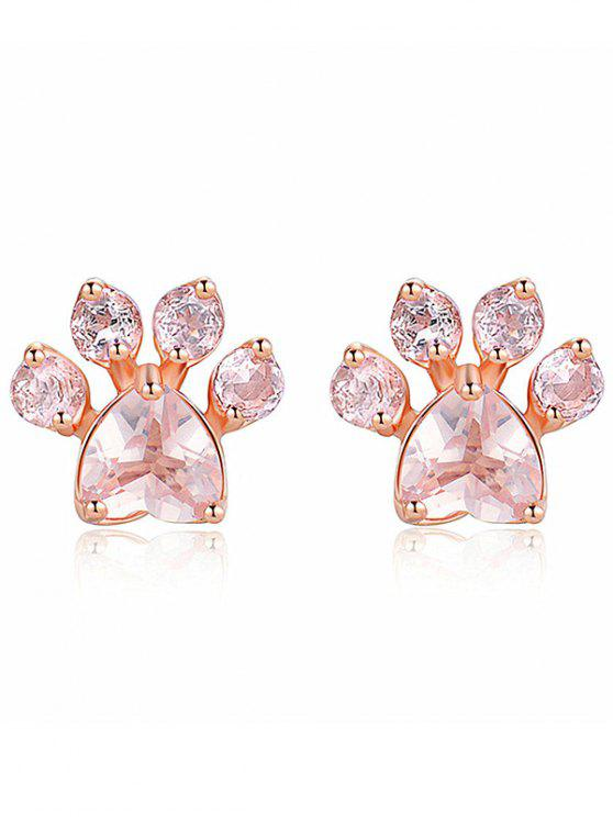 Affordable Kitty Paw Fake Diamond Stud Earrings Rose Gold