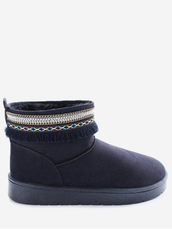 shops Slip On Low Heel Snow Boots - BLUE 38