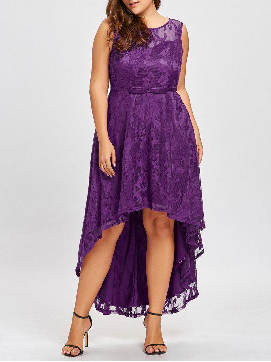 Plus Size Dip Hem Spitze Abendkleid Lila: Kleider XL | ZAFUL