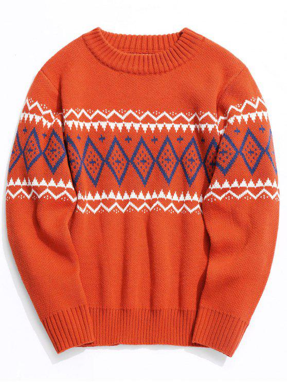 affordable Intarsia Crew Neck Sweater - JACINTH L