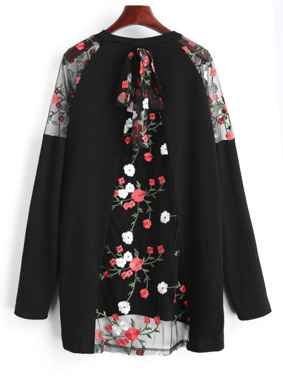 بلوزة طويلة بشبك مزينة بأزهار - أسود L