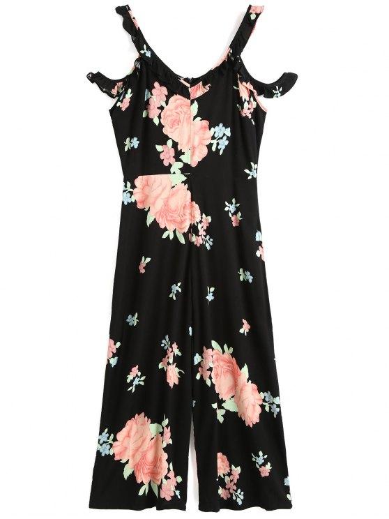 الزهور الكشكشة البوق الكتف بذلة - أسود XL
