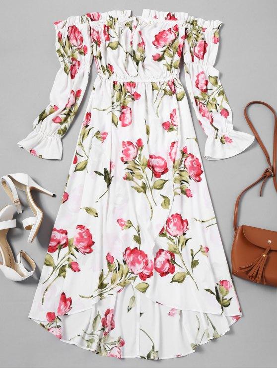 فستان ماكسي بلا اكتاف غير متماثل طباعة الأزهار - أبيض XL