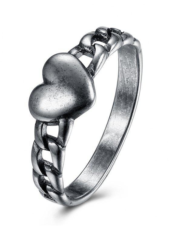 Anel da corrente do coração do vintage - Prata 9