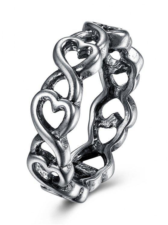 fancy Alloy Unique Heart Finger Ring - SILVER 9