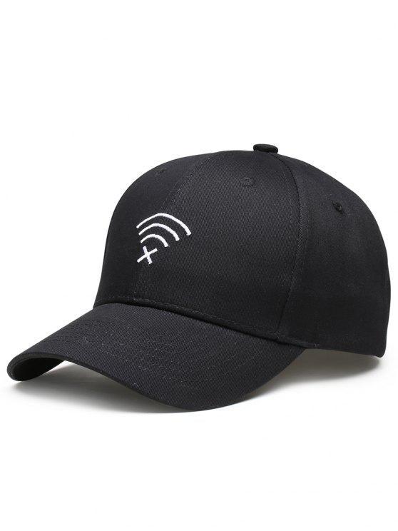 ويفي لا إشارة التطريز مزينة قبعة البيسبول - أسود