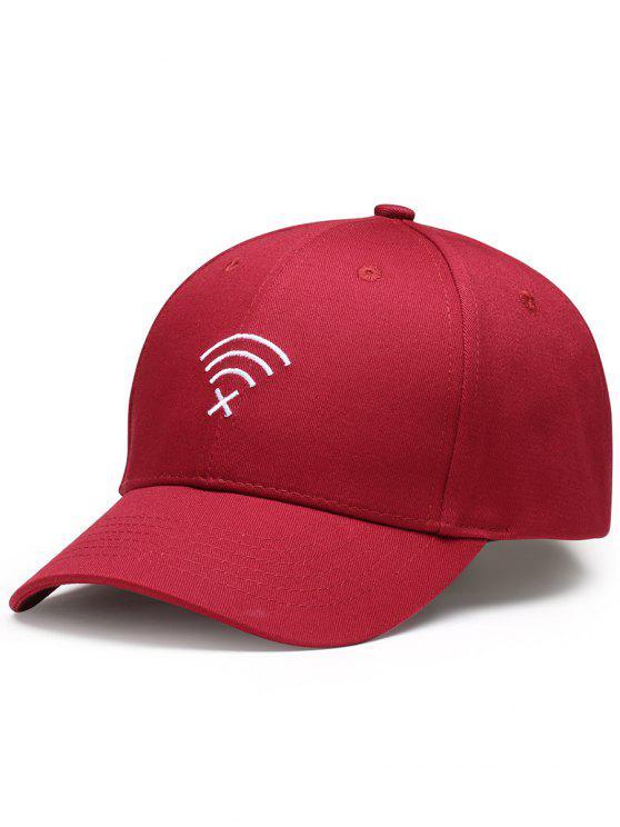 Cappello Da Baseball Decorato Con Ricamo A Segnale WIFI No Divertente - Vino rosso