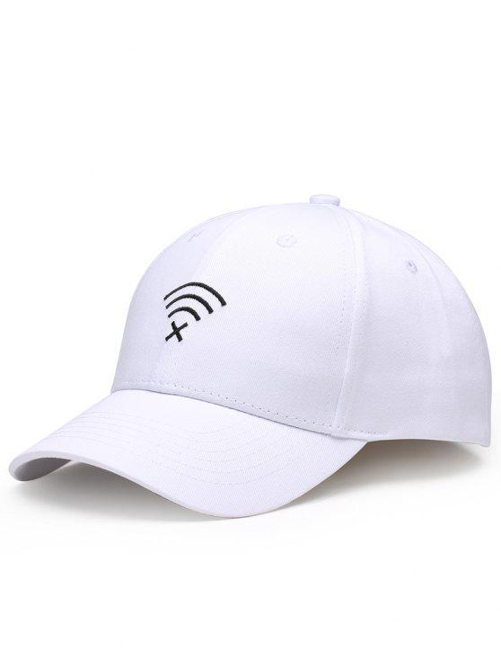 قبعة مزينة بتطريز - أبيض
