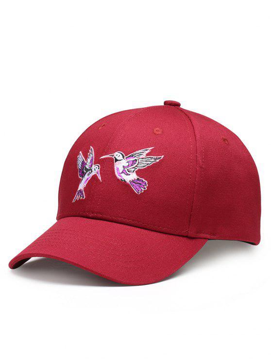 Cappello Da Baseball Regolabile Decorato Con Ricamo A Uccelli Volanti - Vino rosso