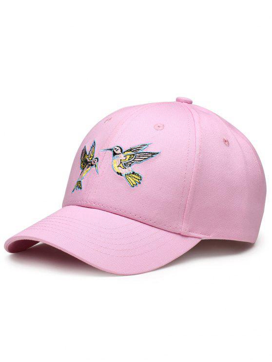 Cappello Da Baseball Regolabile Decorato Con Ricamo A Uccelli Volanti - Papaya
