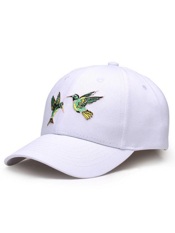 Cappello Da Baseball Regolabile Decorato Con Ricamo A Uccelli Volanti - Bianca