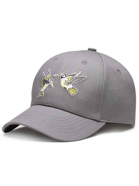 Cappello Da Baseball Regolabile Decorato Con Ricamo A Uccelli Volanti - Grigio