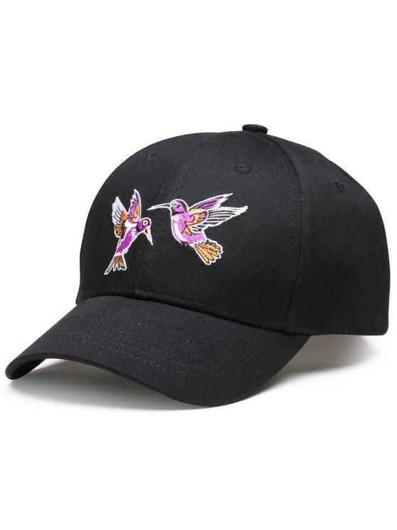 قبعة بيسبول بتطريزة عصفورين - أسود