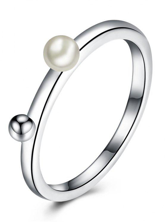 sale Artificial Pearl Alloy Ball Finger Ring - SILVER 9
