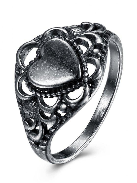 buy Alloy Retro Heart Finger Ring - SILVER 6